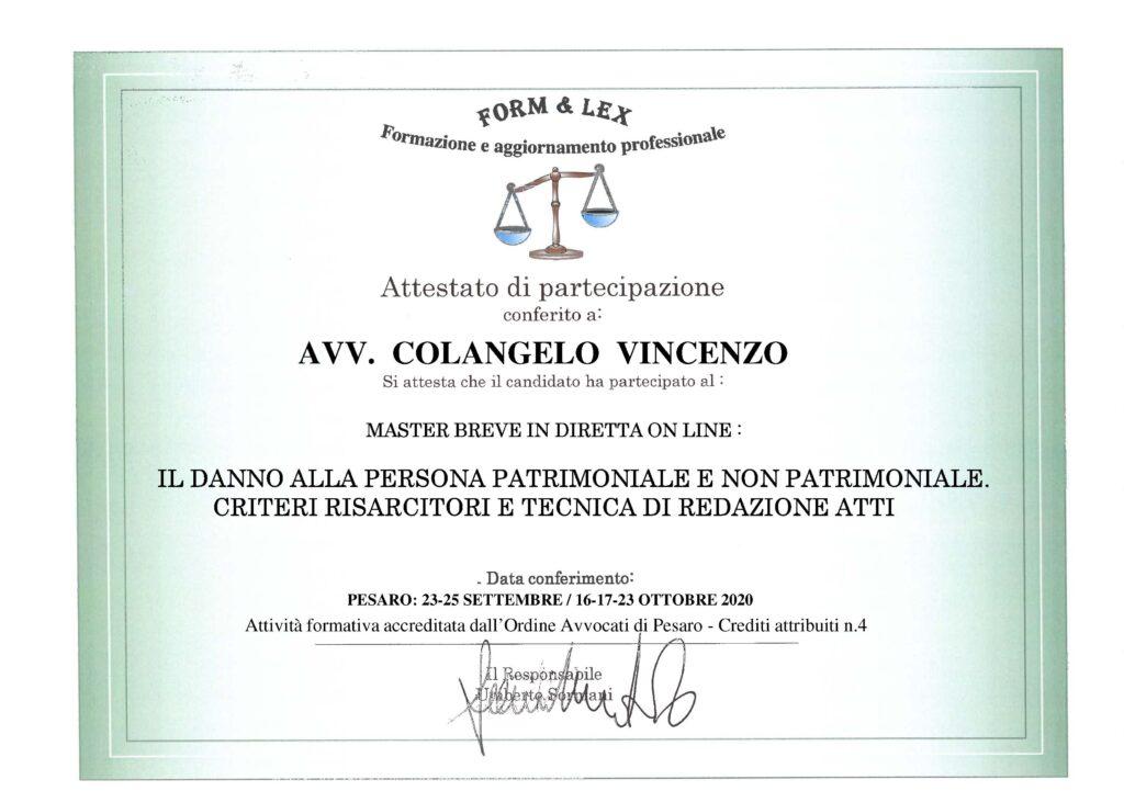 ATTESTATO master online vincenzo colangelo